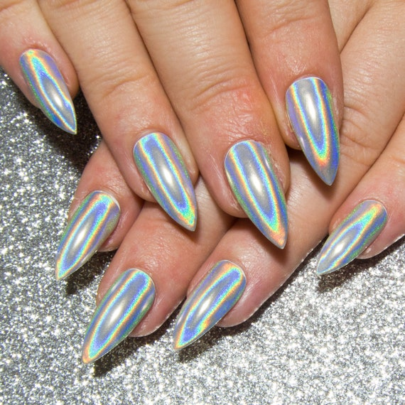 Holographic Chrome Nails Stiletto Acrylic Nails Mirror Gel Etsy