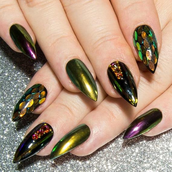 Fake Nails Design Stiletto Nails Black Press On Nails | Etsy