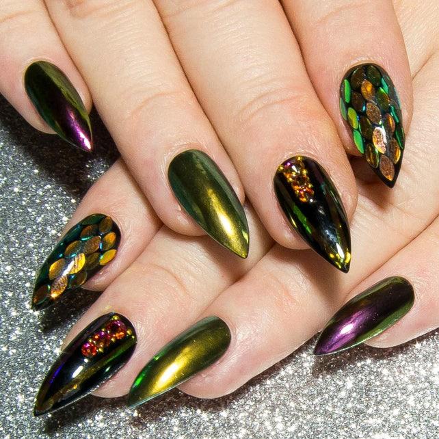 Fake Nails Design Stiletto Nails Black Press On Nails Etsy