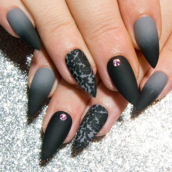 Matte Fake Nails Grey Press On Nails Black Gothic Faux Etsy