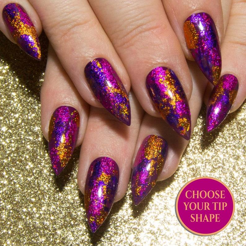Stiletto Acrylic Nails Glitter Fake Nails Pink Pointy Gel Nail Set Holo False Nails Sparkly Press On Nails Metallic Faux Nails