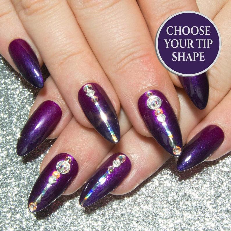 Purple Press On Nails , Ombre Fake Nails , Stiletto False Nails , Crystal  Nails , Hand Painted Glue On Nails , Nail Art Faux Nails , Magenta