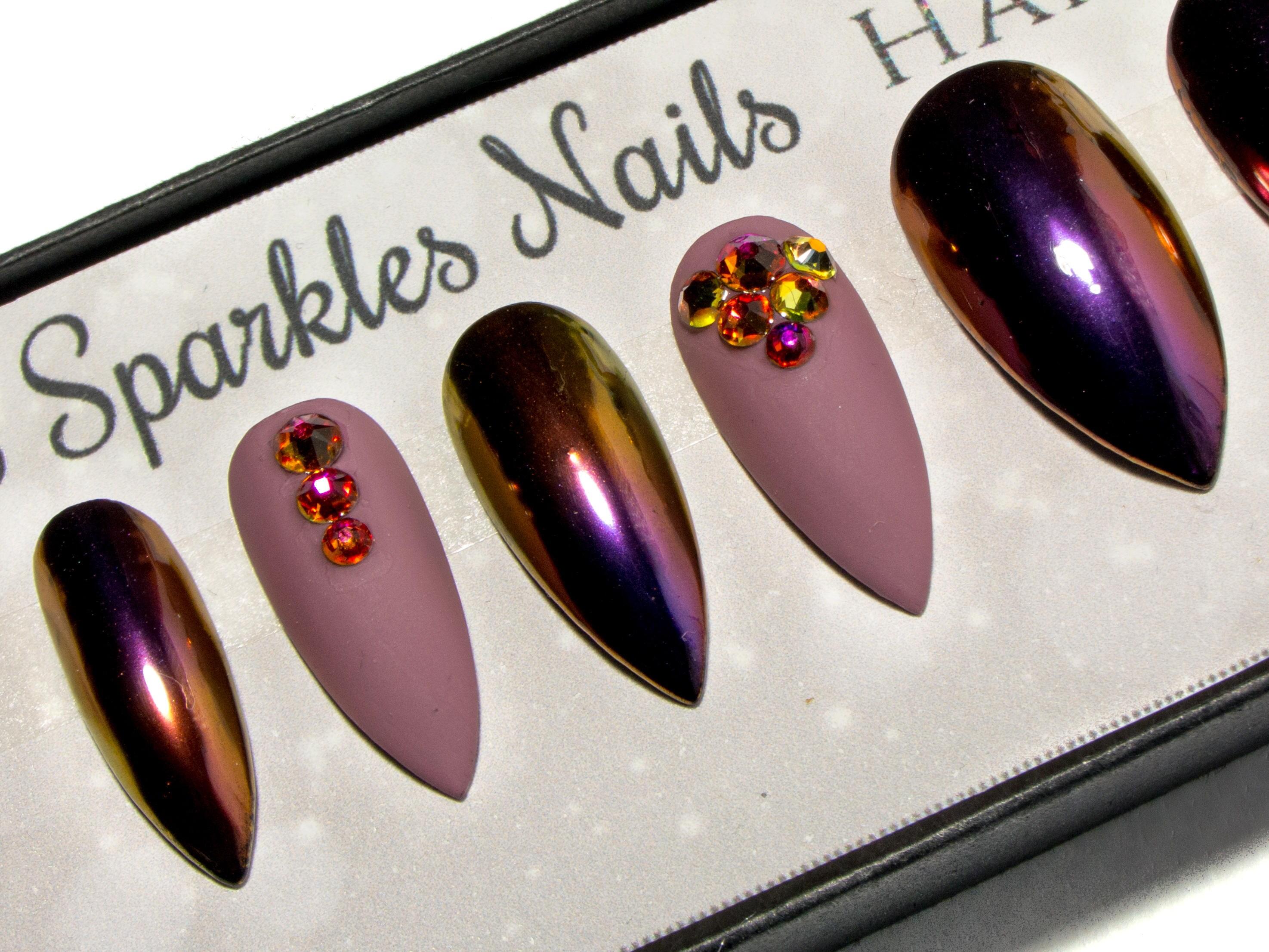 Matte False Nails - Chrome Stiletto Nails - Crystal Press On Nails ...