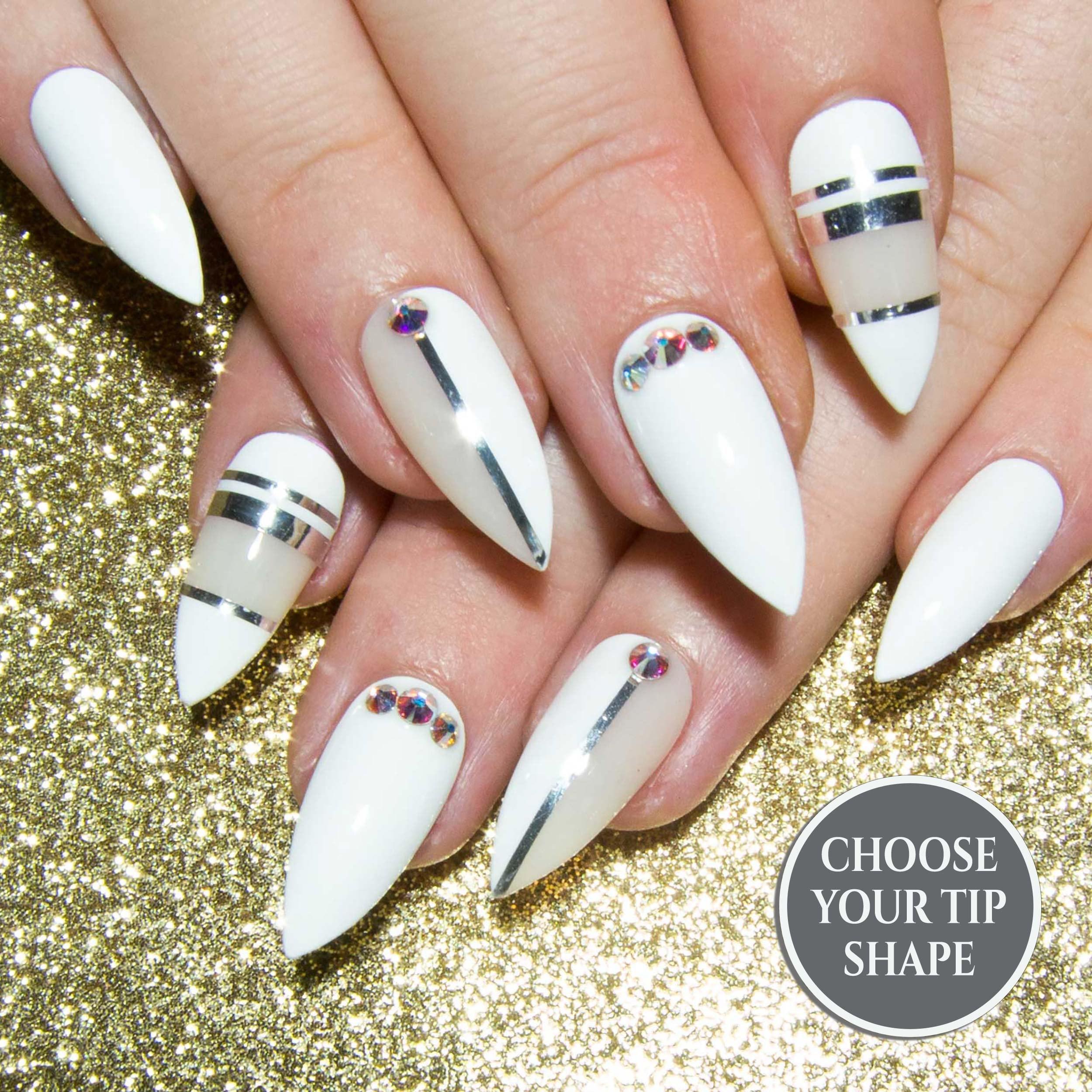 Press On Stiletto Nails - False Nail French - Fake Nails Design - Crystal  Nails - Pointy White Nails - Swarovksi Nails - False Nails UK