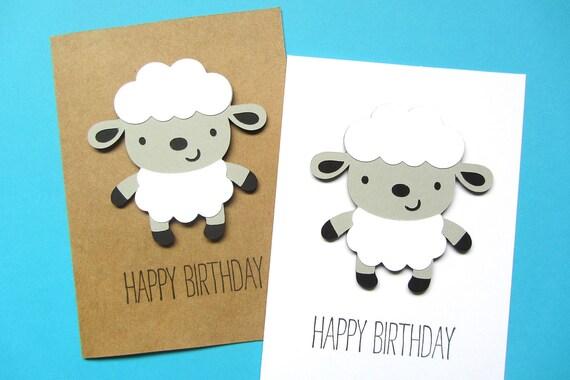 Lamb Birthday Card Sheep Birthday Card Kid Birthday Card
