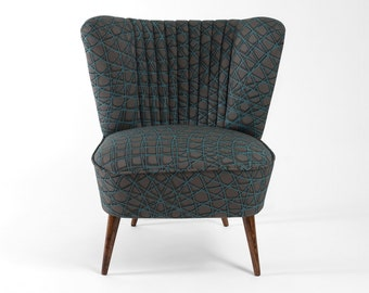 Grey/turquoise cocktail chair from 70's - restored