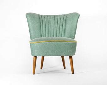 Fully restored turquoise cocktail chair from 1970's