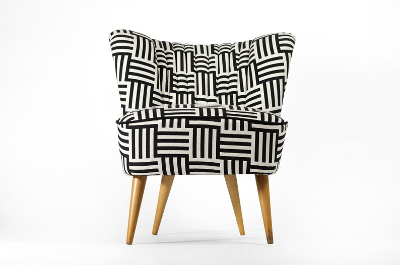 Completely restored Black and White coctail chair from image 0
