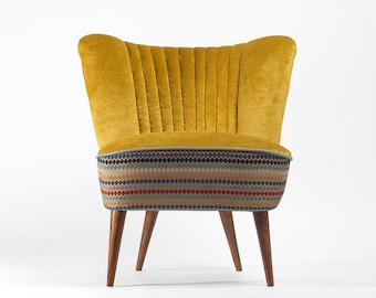 Gold and stripes Cocktail Chair (medium) from 70's - restored