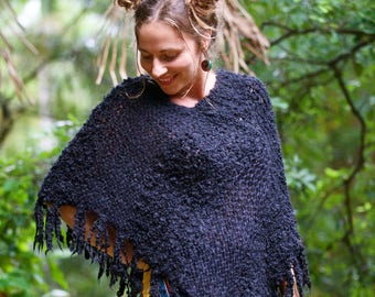 Wool Poncho - Black
