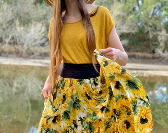 Sunflower Handkerchief Skirt - Australian Made