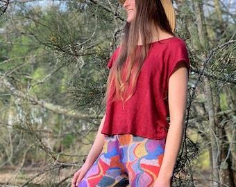 Linen Knit Top - Scarlet - Australian Made