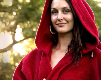 FLEECY HOODIE CAPE Wrap, Poncho, Cloak, Handmade, Medieval, Lord of the Rings, Cosplay, Goddess, King, Queen, Witch, Wizard, Australian Made