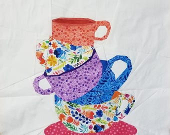 Stacked Teacup Foundation Paper Piecing Pattern