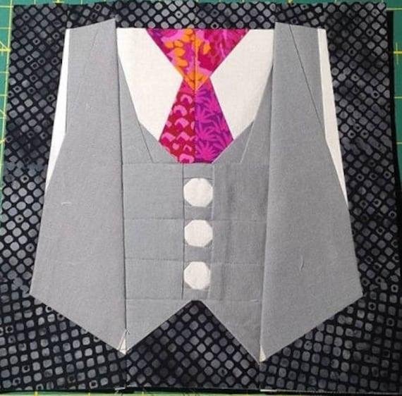 A Vest Tie Foundation Paper Piecing Pattern Etsy