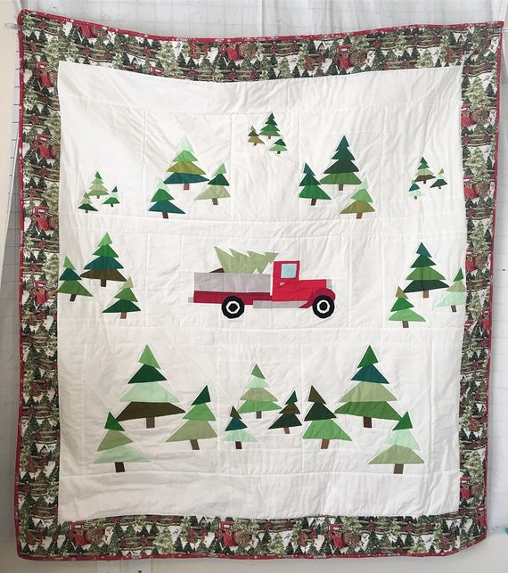Free Paper Pieced Quilt Patterns Christmas.Christmas Vintage Truck And Trees Quilt Pattern With Free Cardinal Fpp Pattern Included
