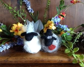 Felted Wool Sheep Bride and Groom