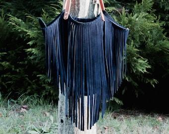 Lucila bag - Navy - Blue suede bag with fringe - Blue leather bag - Blue fringe bag - Navy blue fringe bag - Handmade suede bag