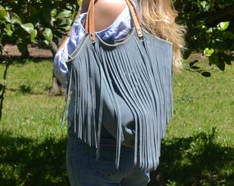 The Lucila Bag - Beautiful light grey suede fringe with raw hide straps