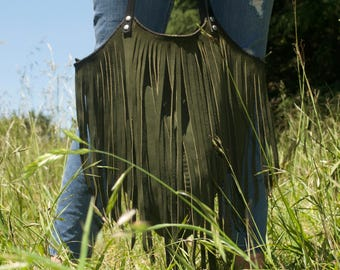 The Lucila Bag in Forest Green and Black - Beautiful handmade suede bag with lashings of fringe and strong leather straps