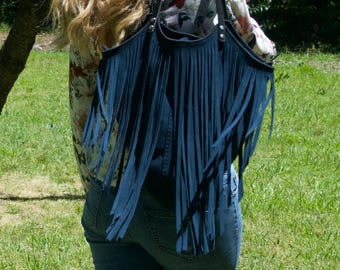 The Lucila Bag in Navy blue and Black - Beautiful handmade suede bag with lashings of fringe and strong leather straps