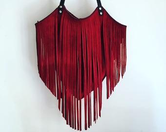Lucila bag - Red & Black - Red suede bag with fringe - Red leather bag - Red fringe bag - Handmade leather bag - Handmade suede bag