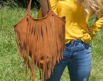Lucila bag - Toast - Tanned suede bag with fringe - Brown leather bag - Brown fringe bag - Tan fringe bag - Handmade leather bag
