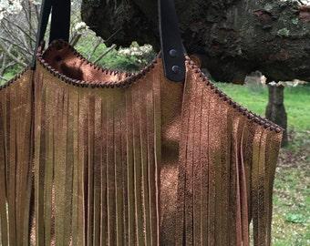Lucila bag - Bronze - Bronze leather bag with fringe - Metallic bag - Bronze handbag with black leather straps - Handmade leather bag