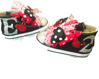 Minnie Mouse Initial Toddler Converse Bling Shoes, Red Disney Inspired Rhinestone Converse, Personalized Converse, Baby & Adult Custom Bling