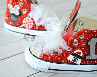 d5033a9099c2 Minnie Mouse Toddler Converse Bling Shoes Hot Pink Disney