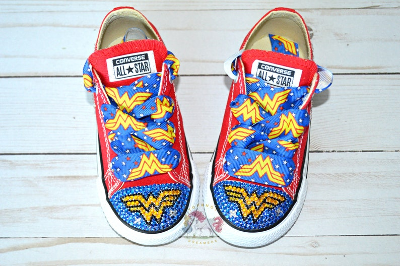 47c58b50150a Wonder Woman Bling Shoes Custom Converse Personalized