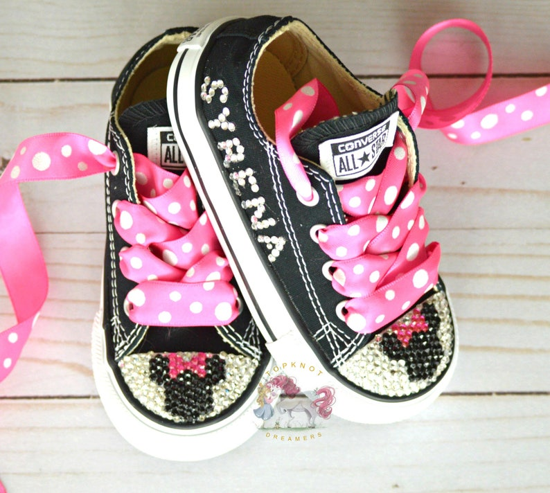 60e47f4da7d34e Minnie Mouse Toddler Converse Bling Shoes Hot Pink Disney