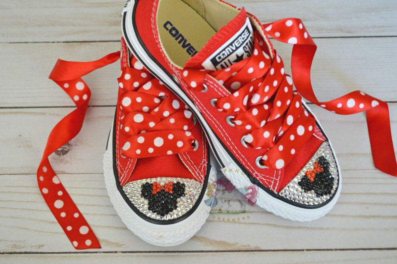 1b8a384ebaf8 Minnie Mouse Personalized Toddler Bling Shoes Red Minnie