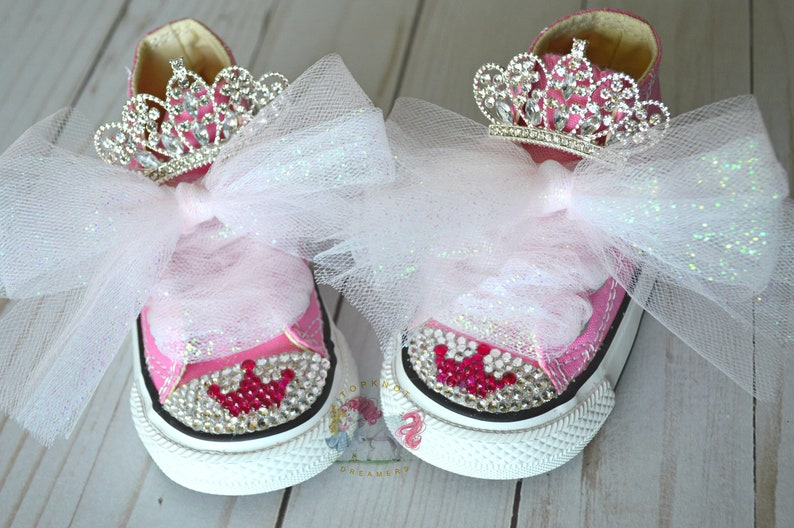 92c25bd775580f Princess Crowns Toddler Bling Converse Shoes Pink Rhinestone