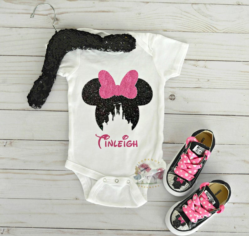 56cb261e4 Personalized Minnie Mouse Onesie Minnie Mouse Shirt Disney | Etsy