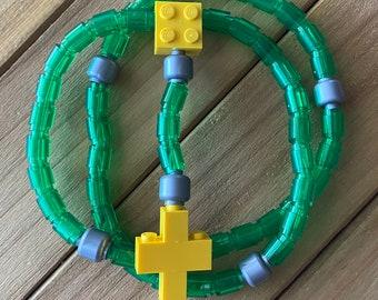 Rosary made of Lego Bricks - Translucent Green, Silver & Yellow Catholic Rosary