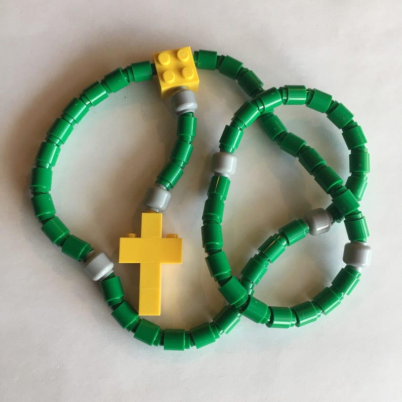 Rosary made of Lego Bricks  Green Light Gray & Yellow image 0