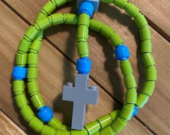 Rosary made of Lego Bricks - Lime Green, Bright Blue & Light Gray Catholic Rosary