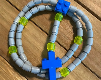 Rosary made of Lego Bricks - Light Gray, Translucent Yellow and Blue Catholic Rosary