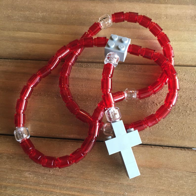 Rosary made of Lego Bricks  Translucent Red Clear & Gray image 0