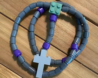 Rosary made of Lego Bricks - Dark Gray, Purple, Light Gray & Moss Green Catholic Rosary