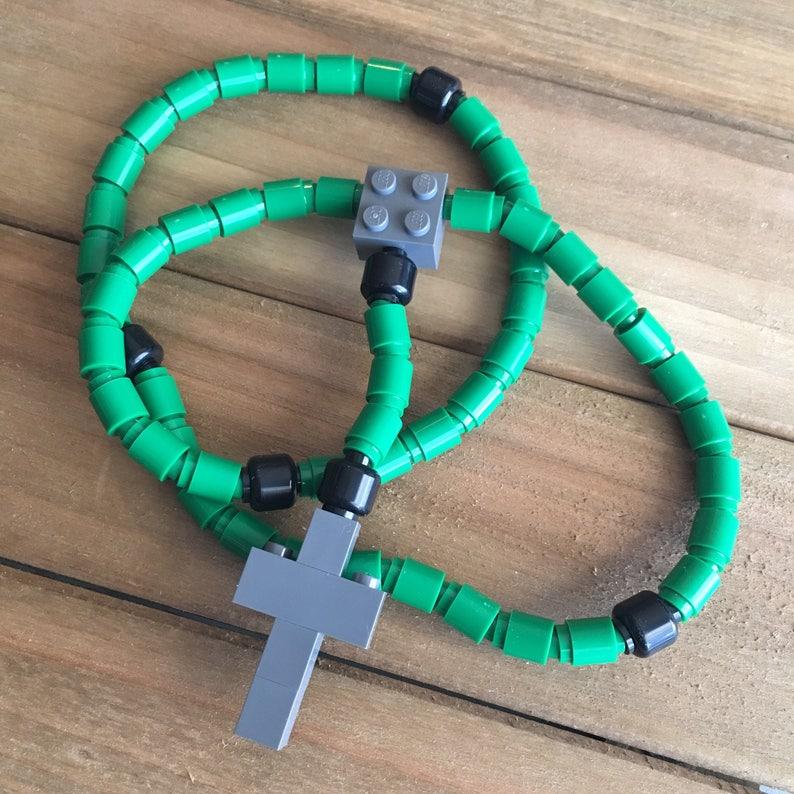 Rosary made of Lego Bricks  Green Black & Dark Gray Catholic image 0