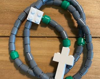Rosary made of Lego Bricks - Dark Gray, Green & White Catholic Rosary