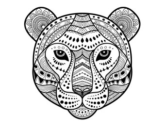 Tiger Coloring Page Instant Download Wild Cat Only Print Face Animal Pages Zentangle