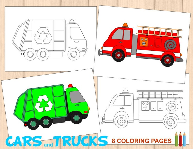 8 Kids Coloring Pages Cars And Trucks Activity Book Monster Etsy