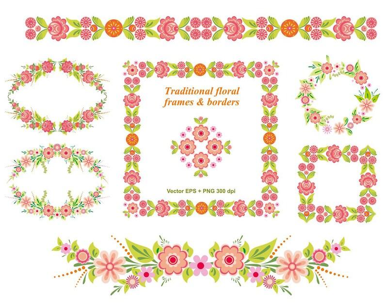 Beroemd Pakket Floral kaders en randen in de Folk stijl   Etsy @HQ69
