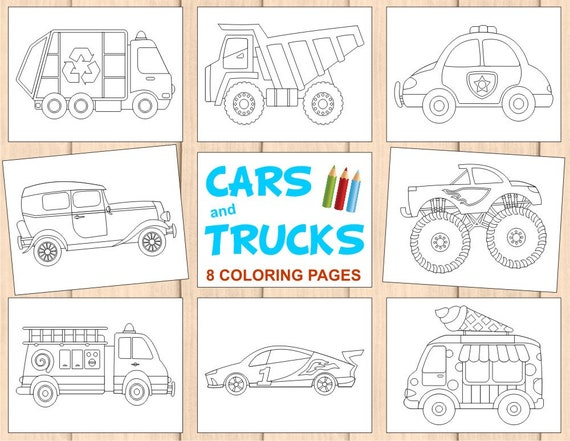 - 8 Kids Coloring Pages Cars And Trucks Activity Book Monster Etsy