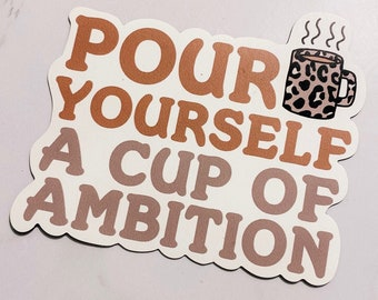 Dolly Parton 'Pour Yourself A Cup Of Ambition' Quote with Leopard Print Mug Illustration Fridge Magnet