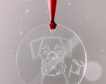Engraved Acrylic Personalised Dog Christmas Ornament Decoration