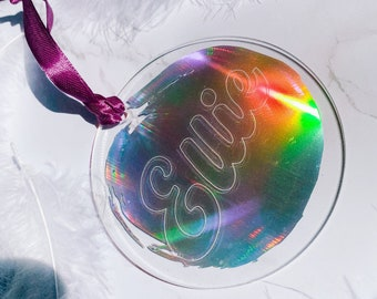 Engraved Acrylic Personalised Rainbow Holographic Christmas Decoration